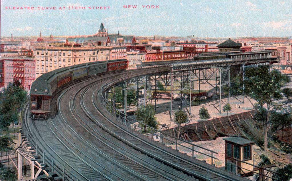 (247k, 1024x636)<br><b>Country:</b> United States<br><b>City:</b> New York<br><b>System:</b> New York City Transit<br><b>Line:</b> 9th Avenue El<br><b>Location:</b> 110th Street <br><b>Collection of:</b> David Pirmann<br><b>Notes:</b> Postcard: Elevated Curve at 110th Street.<br><b>Viewed (this week/total):</b> 2 / 4380