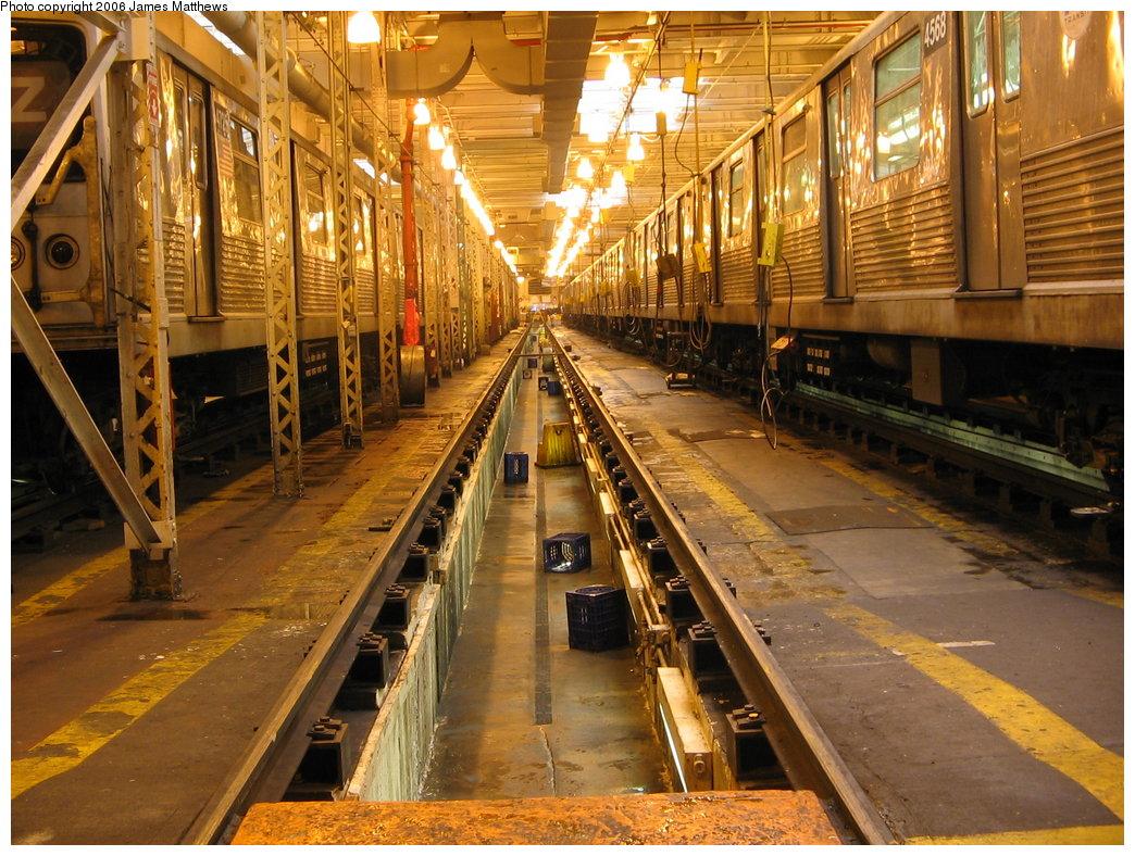 (243k, 1044x788)<br><b>Country:</b> United States<br><b>City:</b> New York<br><b>System:</b> New York City Transit<br><b>Location:</b> East New York Yard/Shops<br><b>Car:</b> R-42 (St. Louis, 1969-1970)  4725/4568 <br><b>Photo by:</b> James Matthews<br><b>Date:</b> 2/17/2006<br><b>Notes:</b> View down track 5 in the shop.<br><b>Viewed (this week/total):</b> 2 / 3951