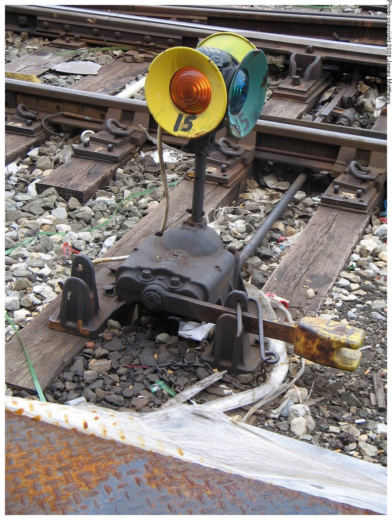 (267k, 788x1044)<br><b>Country:</b> United States<br><b>City:</b> New York<br><b>System:</b> New York City Transit<br><b>Location:</b> East New York Yard/Shops<br><b>Photo by:</b> James Matthews<br><b>Date:</b> 2/17/2006<br><b>Notes:</b> Signal on switch stand in yard.<br><b>Viewed (this week/total):</b> 0 / 2177