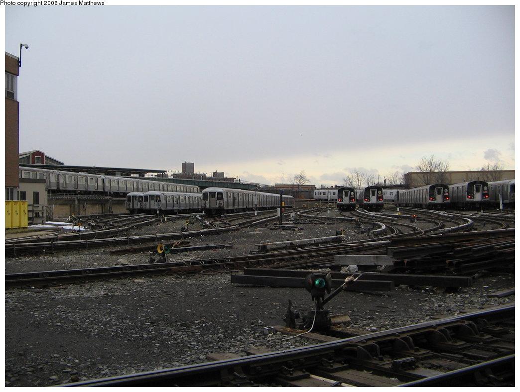 (155k, 1044x788)<br><b>Country:</b> United States<br><b>City:</b> New York<br><b>System:</b> New York City Transit<br><b>Location:</b> East New York Yard/Shops<br><b>Photo by:</b> James Matthews<br><b>Date:</b> 2/18/2006<br><b>Notes:</b> View of East New York yard.<br><b>Viewed (this week/total):</b> 4 / 2358