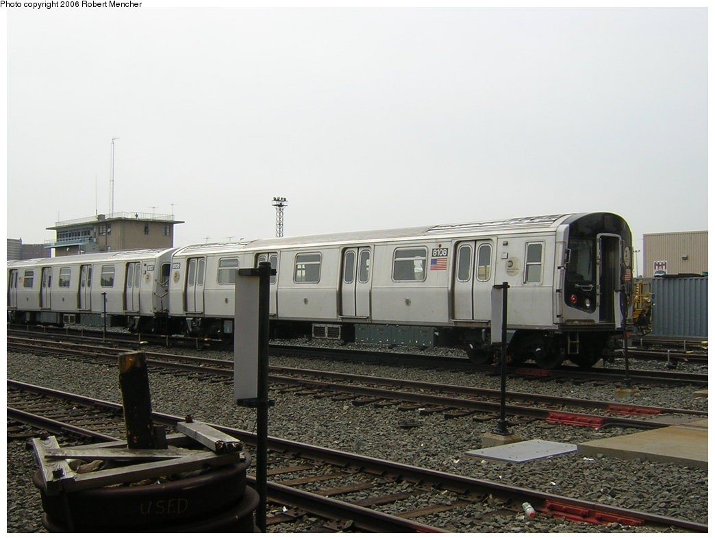 (177k, 1044x788)<br><b>Country:</b> United States<br><b>City:</b> New York<br><b>System:</b> New York City Transit<br><b>Location:</b> Coney Island Yard<br><b>Car:</b> R-143 (Kawasaki, 2001-2002) 8108 <br><b>Photo by:</b> Robert Mencher<br><b>Date:</b> 2/10/2006<br><b>Viewed (this week/total):</b> 0 / 2417
