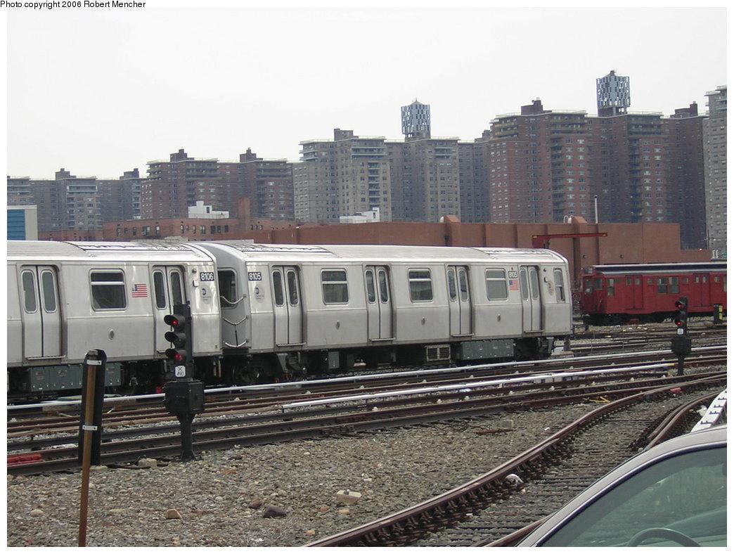 (213k, 1044x788)<br><b>Country:</b> United States<br><b>City:</b> New York<br><b>System:</b> New York City Transit<br><b>Location:</b> Coney Island Yard<br><b>Car:</b> R-143 (Kawasaki, 2001-2002) 8105 <br><b>Photo by:</b> Robert Mencher<br><b>Date:</b> 2/10/2006<br><b>Viewed (this week/total):</b> 0 / 2912