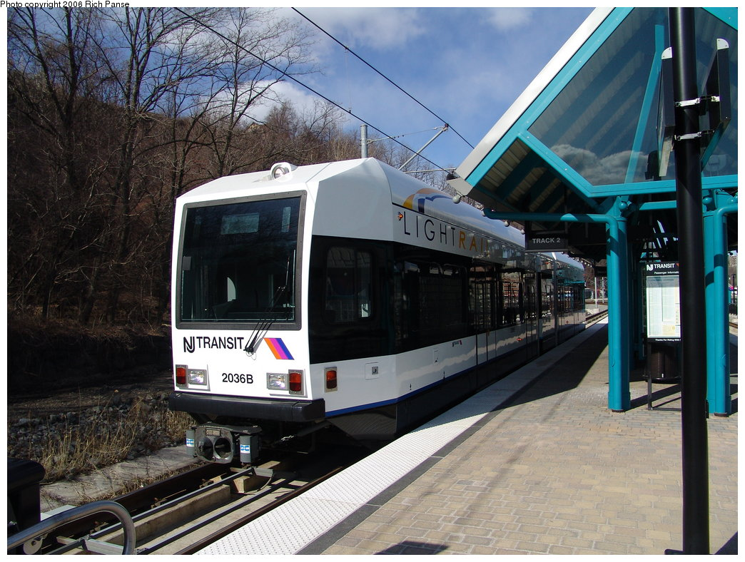(229k, 1044x788)<br><b>Country:</b> United States<br><b>City:</b> Weehawken, NJ<br><b>System:</b> Hudson Bergen Light Rail<br><b>Location:</b> Port Imperial <br><b>Car:</b> NJT-HBLR LRV (Kinki-Sharyo, 1998-99)  2036 <br><b>Photo by:</b> Richard Panse<br><b>Date:</b> 2/26/2006<br><b>Viewed (this week/total):</b> 1 / 1375