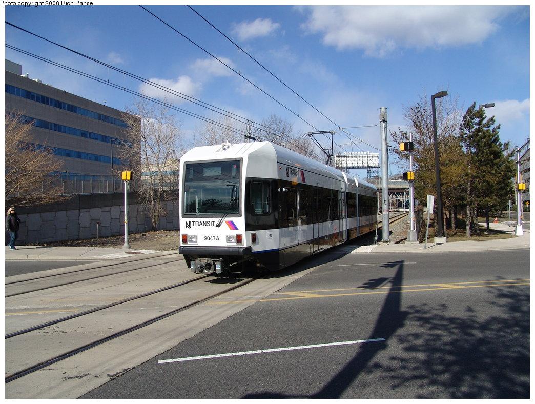 (209k, 1044x788)<br><b>Country:</b> United States<br><b>City:</b> Weehawken, NJ<br><b>System:</b> Hudson Bergen Light Rail<br><b>Location:</b> Lincoln Harbor <br><b>Car:</b> NJT-HBLR LRV (Kinki-Sharyo, 1998-99)  2047 <br><b>Photo by:</b> Richard Panse<br><b>Date:</b> 2/26/2006<br><b>Viewed (this week/total):</b> 0 / 1783