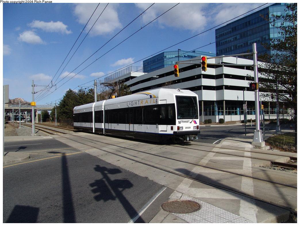 (217k, 1044x788)<br><b>Country:</b> United States<br><b>City:</b> Weehawken, NJ<br><b>System:</b> Hudson Bergen Light Rail<br><b>Location:</b> Lincoln Harbor <br><b>Car:</b> NJT-HBLR LRV (Kinki-Sharyo, 1998-99)  2032 <br><b>Photo by:</b> Richard Panse<br><b>Date:</b> 2/26/2006<br><b>Viewed (this week/total):</b> 1 / 1975