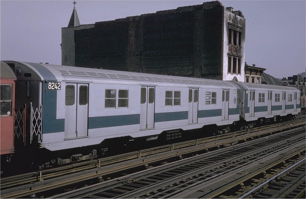 (204k, 1024x668)<br><b>Country:</b> United States<br><b>City:</b> New York<br><b>System:</b> New York City Transit<br><b>Line:</b> BMT Nassau Street/Jamaica Line<br><b>Location:</b> Marcy Avenue <br><b>Route:</b> QJ<br><b>Car:</b> R-27 (St. Louis, 1960)  8242 <br><b>Photo by:</b> Steve Zabel<br><b>Collection of:</b> Joe Testagrose<br><b>Date:</b> 3/6/1971<br><b>Viewed (this week/total):</b> 1 / 2135