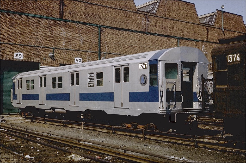 (302k, 1024x678)<br><b>Country:</b> United States<br><b>City:</b> New York<br><b>System:</b> New York City Transit<br><b>Location:</b> Coney Island Yard<br><b>Car:</b> R-27 (St. Louis, 1960)  8247 <br><b>Photo by:</b> Steve Zabel<br><b>Collection of:</b> Joe Testagrose<br><b>Date:</b> 4/23/1971<br><b>Viewed (this week/total):</b> 4 / 2346