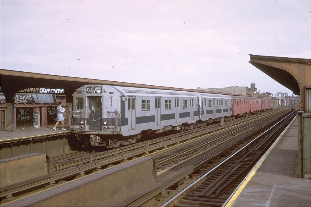 (180k, 1024x682)<br><b>Country:</b> United States<br><b>City:</b> New York<br><b>System:</b> New York City Transit<br><b>Line:</b> BMT Nassau Street/Jamaica Line<br><b>Location:</b> Gates Avenue <br><b>Route:</b> QJ<br><b>Car:</b> R-30 (St. Louis, 1961) 8327 <br><b>Photo by:</b> Steve Zabel<br><b>Collection of:</b> Joe Testagrose<br><b>Date:</b> 8/27/1972<br><b>Viewed (this week/total):</b> 3 / 2884