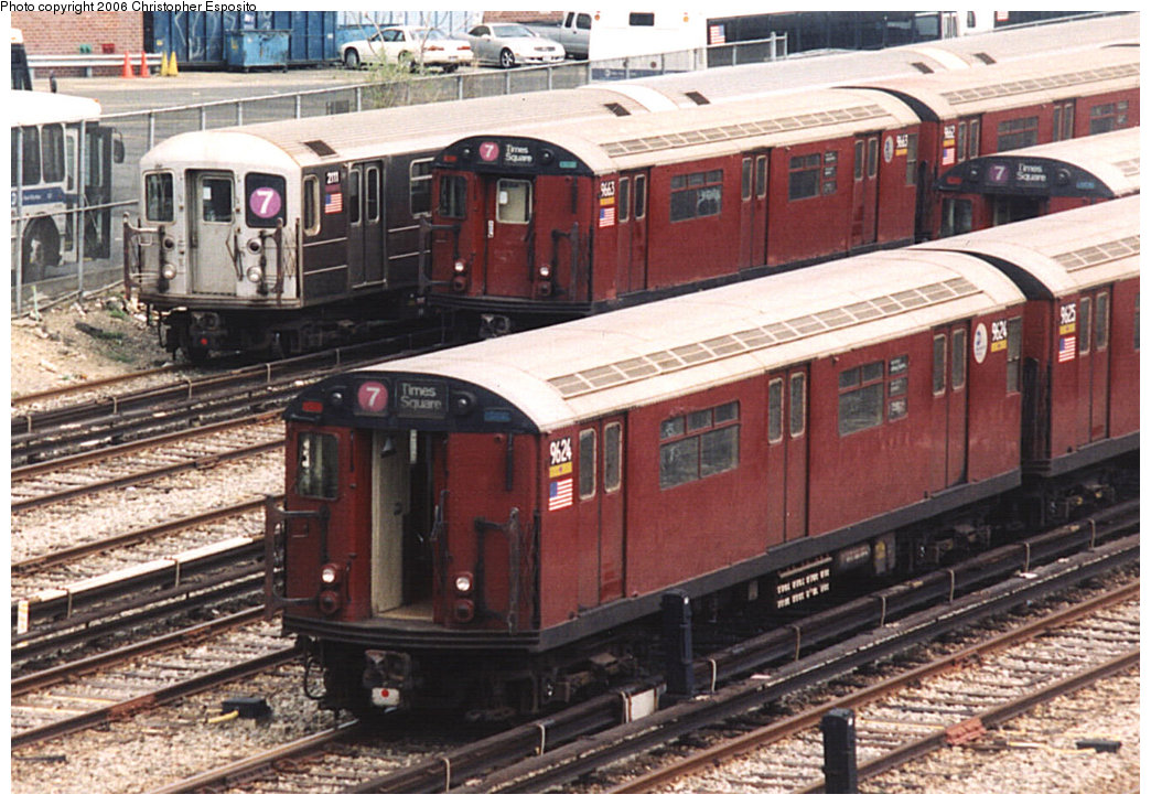 (228k, 1044x730)<br><b>Country:</b> United States<br><b>City:</b> New York<br><b>System:</b> New York City Transit<br><b>Location:</b> Corona Yard<br><b>Car:</b> R-36 World's Fair (St. Louis, 1963-64) 9624 <br><b>Photo by:</b> Christopher Esposito<br><b>Date:</b> 8/17/2003<br><b>Viewed (this week/total):</b> 2 / 1895