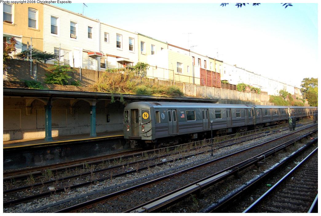 (229k, 1044x701)<br><b>Country:</b> United States<br><b>City:</b> New York<br><b>System:</b> New York City Transit<br><b>Line:</b> BMT Sea Beach Line<br><b>Location:</b> 20th Avenue<br><b>Route:</b> N<br><b>Car:</b> R-68A (Kawasaki, 1988-1989) 5082 <br><b>Photo by:</b> Christopher Esposito<br><b>Date:</b> 10/5/2005<br><b>Viewed (this week/total):</b> 2 / 3037