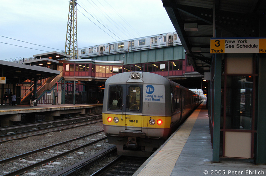 (194k, 864x574)<br><b>Country:</b> United States<br><b>City:</b> New York<br><b>System:</b> New York City Transit<br><b>Line:</b> IRT Flushing Line<br><b>Location:</b> 61st Street/Woodside <br><b>Route:</b> 7<br><b>Car:</b> R-62A (Bombardier, 1984-1987)  1938 <br><b>Photo by:</b> Peter Ehrlich<br><b>Date:</b> 12/19/2005<br><b>Notes:</b> With LIRR 9846.<br><b>Viewed (this week/total):</b> 0 / 3801