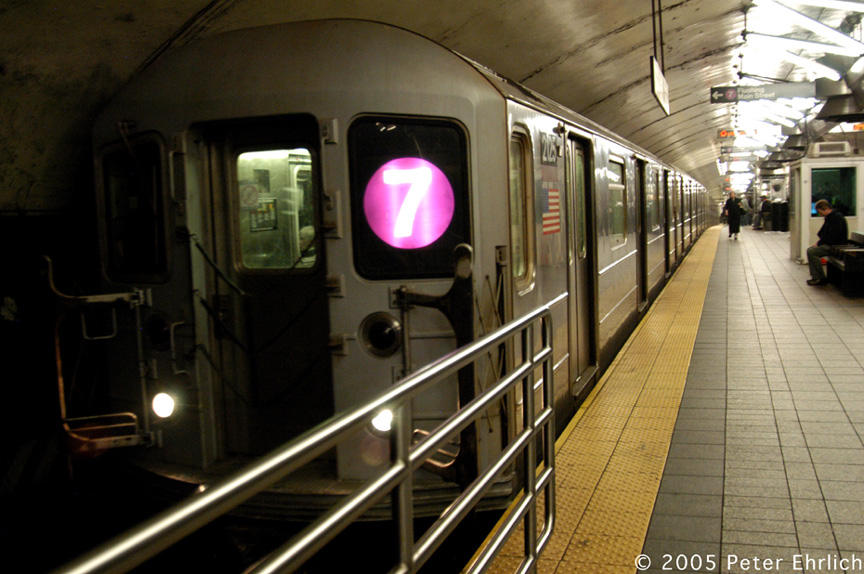 (199k, 864x574)<br><b>Country:</b> United States<br><b>City:</b> New York<br><b>System:</b> New York City Transit<br><b>Line:</b> IRT Flushing Line<br><b>Location:</b> Grand Central <br><b>Route:</b> 7<br><b>Car:</b> R-62A (Bombardier, 1984-1987)  2125 <br><b>Photo by:</b> Peter Ehrlich<br><b>Date:</b> 12/30/2005<br><b>Viewed (this week/total):</b> 1 / 2486