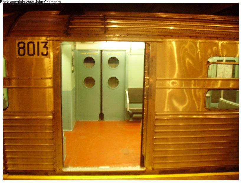 (110k, 820x620)<br><b>Country:</b> United States<br><b>City:</b> New York<br><b>System:</b> New York City Transit<br><b>Location:</b> New York Transit Museum<br><b>Car:</b> R-11 (Budd, 1949) 8013 <br><b>Photo by:</b> John Czarnecky<br><b>Date:</b> 2/28/2006<br><b>Viewed (this week/total):</b> 0 / 3695