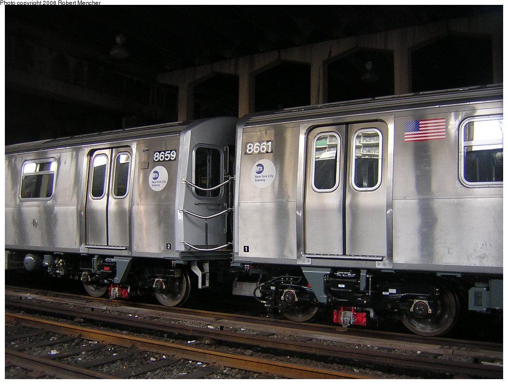 (193k, 1044x788)<br><b>Country:</b> United States<br><b>City:</b> New York<br><b>System:</b> New York City Transit<br><b>Location:</b> Pitkin Yard/Shops<br><b>Car:</b> R-160A-2 (Alstom, 2005-2008, 5 car sets)  8659/8661 <br><b>Photo by:</b> Robert Mencher<br><b>Date:</b> 3/25/2006<br><b>Viewed (this week/total):</b> 1 / 5302
