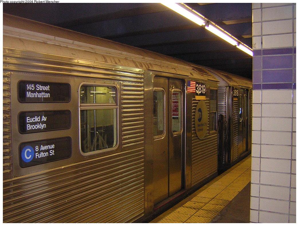 (256k, 1044x788)<br><b>Country:</b> United States<br><b>City:</b> New York<br><b>System:</b> New York City Transit<br><b>Line:</b> IND Fulton Street Line<br><b>Location:</b> Euclid Avenue <br><b>Route:</b> C<br><b>Car:</b> R-32 (Budd, 1964)  3819 <br><b>Photo by:</b> Robert Mencher<br><b>Date:</b> 3/25/2006<br><b>Viewed (this week/total):</b> 0 / 4610