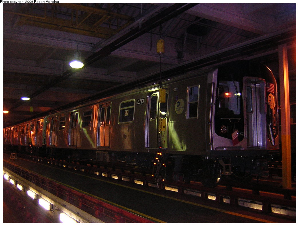 (202k, 1044x788)<br><b>Country:</b> United States<br><b>City:</b> New York<br><b>System:</b> New York City Transit<br><b>Location:</b> Pitkin Yard/Shops<br><b>Car:</b> R-160B (Kawasaki, 2005-2008)  8713 <br><b>Photo by:</b> Robert Mencher<br><b>Date:</b> 3/26/2006<br><b>Viewed (this week/total):</b> 2 / 4444