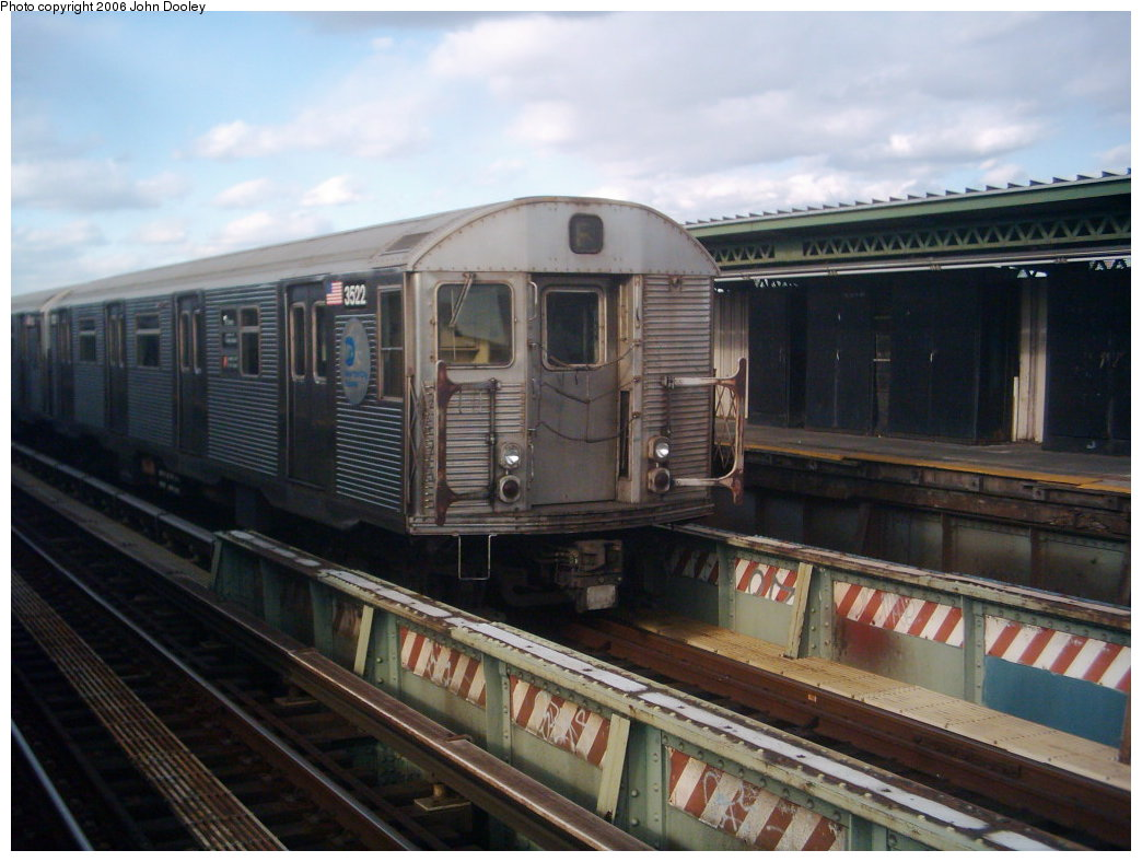 (162k, 1044x788)<br><b>Country:</b> United States<br><b>City:</b> New York<br><b>System:</b> New York City Transit<br><b>Line:</b> BMT Culver Line<br><b>Location:</b> Avenue X <br><b>Route:</b> F<br><b>Car:</b> R-32 (Budd, 1964)  3522 <br><b>Photo by:</b> John Dooley<br><b>Collection of:</b> Michael Hodurski<br><b>Date:</b> 3/24/2006<br><b>Viewed (this week/total):</b> 1 / 3053