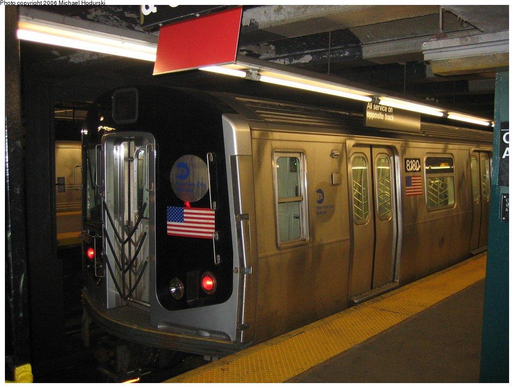 (163k, 1044x788)<br><b>Country:</b> United States<br><b>City:</b> New York<br><b>System:</b> New York City Transit<br><b>Line:</b> IND Crosstown Line<br><b>Location:</b> Church Avenue <br><b>Car:</b> R-143 (Kawasaki, 2001-2002) 8180 <br><b>Photo by:</b> Michael Hodurski<br><b>Date:</b> 3/24/2006<br><b>Viewed (this week/total):</b> 1 / 4066