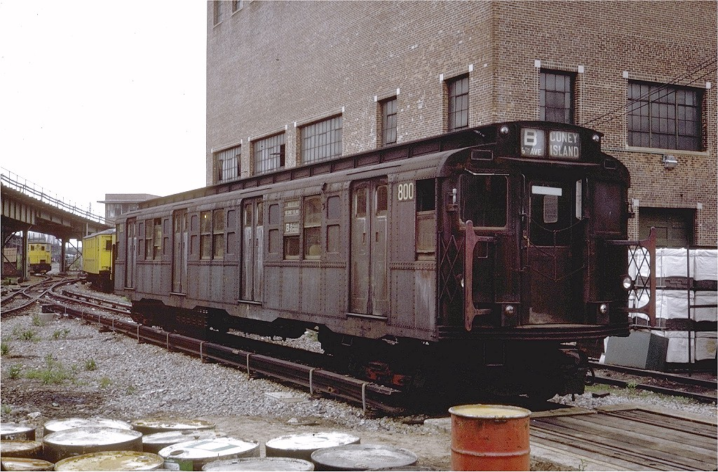 (280k, 1024x674)<br><b>Country:</b> United States<br><b>City:</b> New York<br><b>System:</b> New York City Transit<br><b>Location:</b> Coney Island Yard<br><b>Car:</b> R-4 (American Car & Foundry, 1932-1933) 800 <br><b>Photo by:</b> Steve Zabel<br><b>Collection of:</b> Joe Testagrose<br><b>Date:</b> 5/21/1971<br><b>Viewed (this week/total):</b> 0 / 2622