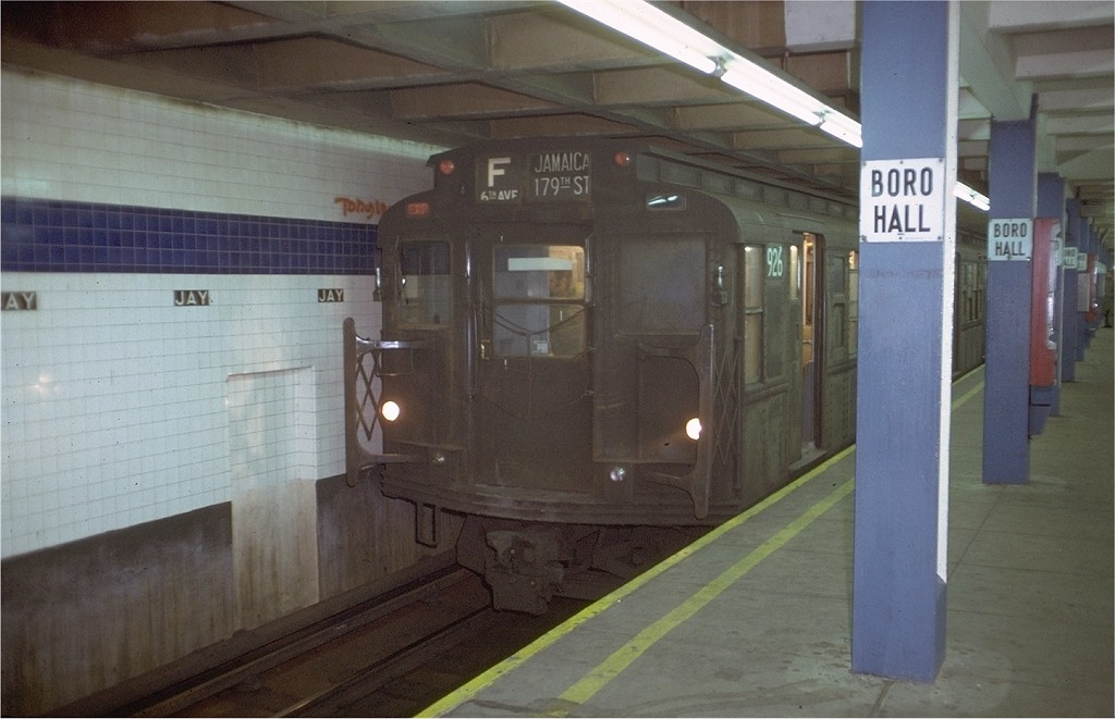 (149k, 1024x661)<br><b>Country:</b> United States<br><b>City:</b> New York<br><b>System:</b> New York City Transit<br><b>Line:</b> IND 8th Avenue Line<br><b>Location:</b> Jay St./Metrotech (Borough Hall) <br><b>Route:</b> F<br><b>Car:</b> R-6-3 (American Car & Foundry, 1935)  926 <br><b>Photo by:</b> Doug Grotjahn<br><b>Collection of:</b> Joe Testagrose<br><b>Date:</b> 12/24/1971<br><b>Viewed (this week/total):</b> 0 / 3397