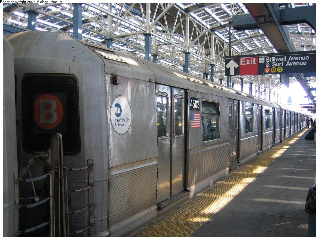 (190k, 1044x788)<br><b>Country:</b> United States<br><b>City:</b> New York<br><b>System:</b> New York City Transit<br><b>Location:</b> Coney Island/Stillwell Avenue<br><b>Car:</b> R-40M (St. Louis, 1969)  4503 <br><b>Photo by:</b> Michael Hodurski<br><b>Date:</b> 3/10/2006<br><b>Notes:</b> Train relaying at Stillwell Avenue track 6 before heading for car wash at Coney Island yard.<br><b>Viewed (this week/total):</b> 0 / 3274