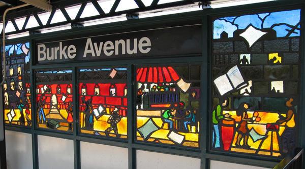 (90k, 600x334)<br><b>Country:</b> United States<br><b>City:</b> New York<br><b>System:</b> New York City Transit<br><b>Line:</b> IRT White Plains Road Line<br><b>Location:</b> Burke Avenue <br><b>Photo by:</b> Béatrice Coron<br><b>Date:</b> 3/26/2006<br><b>Artwork:</b> <i>Bronx Literature</i>, Béatrice Coron (2006).<br><b>Notes:</b> Nicholasa Mohr panel.<br><b>Viewed (this week/total):</b> 6 / 2790