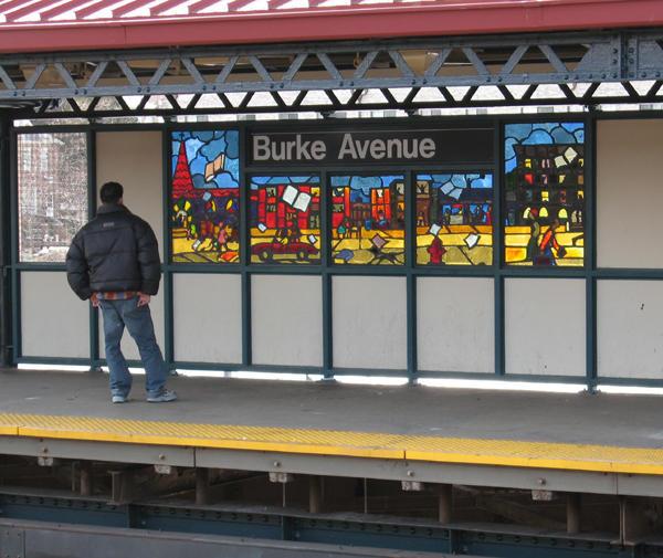 (97k, 600x505)<br><b>Country:</b> United States<br><b>City:</b> New York<br><b>System:</b> New York City Transit<br><b>Line:</b> IRT White Plains Road Line<br><b>Location:</b> Burke Avenue <br><b>Photo by:</b> Béatrice Coron<br><b>Date:</b> 3/27/2006<br><b>Artwork:</b> <i>Bronx Literature</i>, Béatrice Coron (2006).<br><b>Notes:</b> James Baldwin panel.<br><b>Viewed (this week/total):</b> 0 / 2987