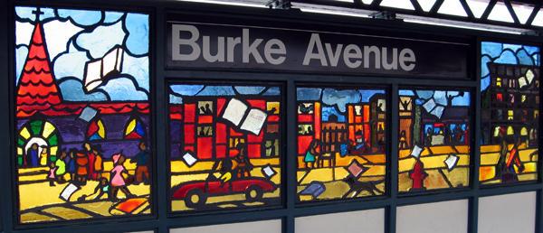 (81k, 600x258)<br><b>Country:</b> United States<br><b>City:</b> New York<br><b>System:</b> New York City Transit<br><b>Line:</b> IRT White Plains Road Line<br><b>Location:</b> Burke Avenue <br><b>Photo by:</b> Béatrice Coron<br><b>Date:</b> 3/27/2006<br><b>Artwork:</b> <i>Bronx Literature</i>, Béatrice Coron (2006).<br><b>Notes:</b> James Baldwin panel.<br><b>Viewed (this week/total):</b> 4 / 2663