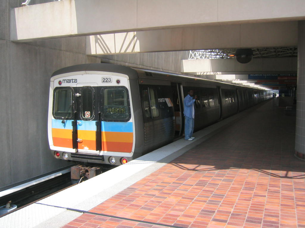 (103k, 1024x768)<br><b>Country:</b> United States<br><b>City:</b> Atlanta, GA<br><b>System:</b> MARTA<br><b>Line:</b> North-South Line <br><b>Location:</b> Airport <br><b>Car:</b> MARTA CQ311 223 <br><b>Photo by:</b> Matthew Shull<br><b>Date:</b> 4/1/2006<br><b>Notes:</b> Hitachi train laid up before reversing to Doraville<br><b>Viewed (this week/total):</b> 0 / 1706