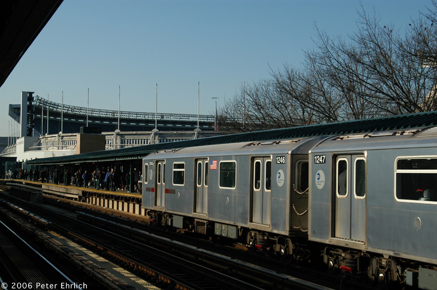 (199k, 864x574)<br><b>Country:</b> United States<br><b>City:</b> New York<br><b>System:</b> New York City Transit<br><b>Line:</b> IRT Woodlawn Line<br><b>Location:</b> 161st Street/River Avenue (Yankee Stadium) <br><b>Car:</b> R-142 (Option Order, Bombardier, 2002-2003)  1246 <br><b>Photo by:</b> Peter Ehrlich<br><b>Date:</b> 1/24/2006<br><b>Viewed (this week/total):</b> 3 / 2858