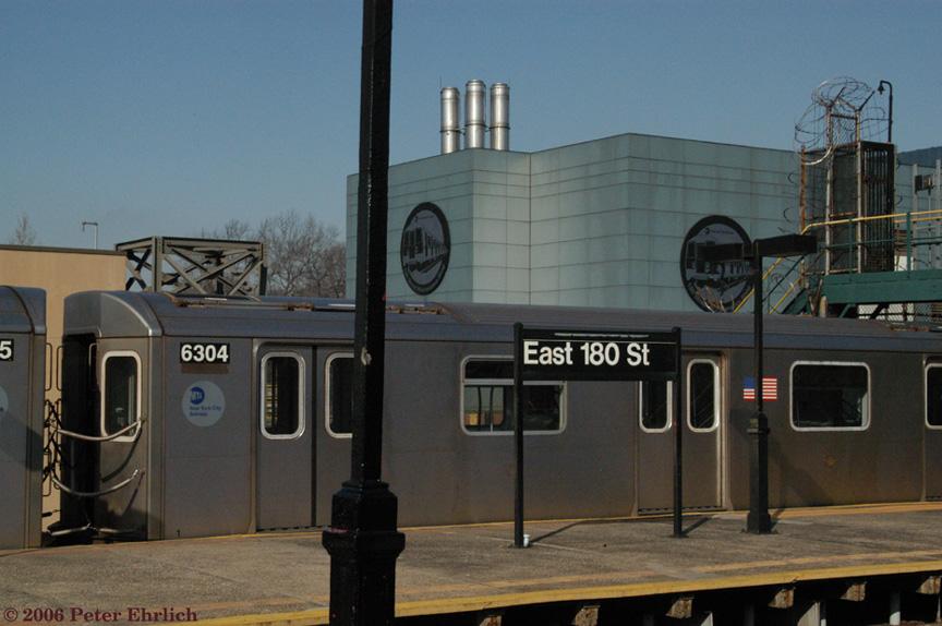 (183k, 864x574)<br><b>Country:</b> United States<br><b>City:</b> New York<br><b>System:</b> New York City Transit<br><b>Line:</b> IRT White Plains Road Line<br><b>Location:</b> East 180th Street <br><b>Car:</b> R-142 (Primary Order, Bombardier, 1999-2002)  6304 <br><b>Photo by:</b> Peter Ehrlich<br><b>Date:</b> 1/24/2006<br><b>Viewed (this week/total):</b> 4 / 4075