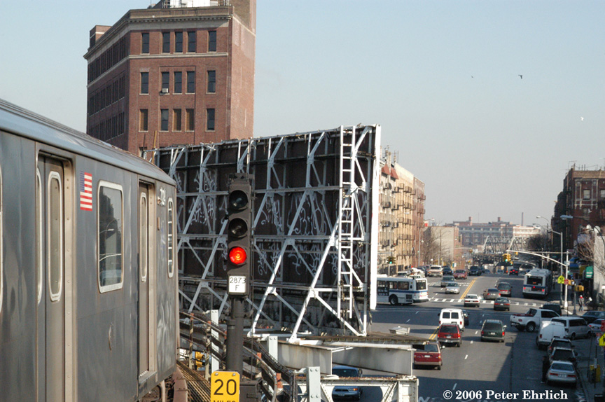 (212k, 864x574)<br><b>Country:</b> United States<br><b>City:</b> New York<br><b>System:</b> New York City Transit<br><b>Line:</b> IRT White Plains Road Line<br><b>Location:</b> Simpson Street <br><b>Car:</b> R-142 (Option Order, Bombardier, 2002-2003)  7024 <br><b>Photo by:</b> Peter Ehrlich<br><b>Date:</b> 1/24/2006<br><b>Notes:</b> The 6 Line--Lex/Pelham--is visible up Westchester Avenue.<br><b>Viewed (this week/total):</b> 4 / 5782