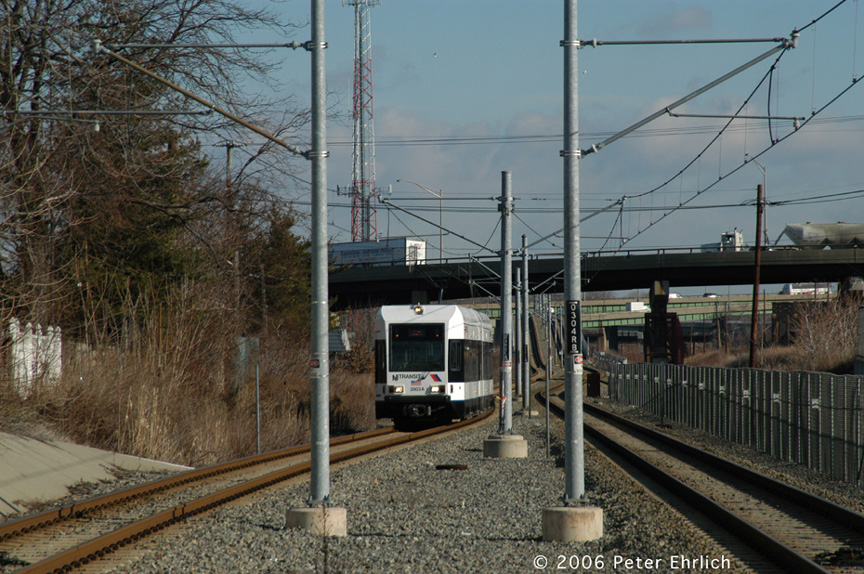 (248k, 864x574)<br><b>Country:</b> United States<br><b>City:</b> Bayonne, NJ<br><b>System:</b> Hudson Bergen Light Rail<br><b>Location:</b> East 45th Street <br><b>Car:</b> NJT-HBLR LRV (Kinki-Sharyo, 1998-99)  2003 <br><b>Photo by:</b> Peter Ehrlich<br><b>Date:</b> 1/25/2006<br><b>Viewed (this week/total):</b> 0 / 1867