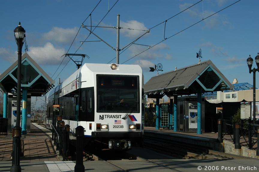 (174k, 864x574)<br><b>Country:</b> United States<br><b>City:</b> Jersey City, NJ<br><b>System:</b> Hudson Bergen Light Rail<br><b>Location:</b> Marin Boulevard <br><b>Car:</b> NJT-HBLR LRV (Kinki-Sharyo, 1998-99)  2023 <br><b>Photo by:</b> Peter Ehrlich<br><b>Date:</b> 1/25/2006<br><b>Viewed (this week/total):</b> 0 / 1606