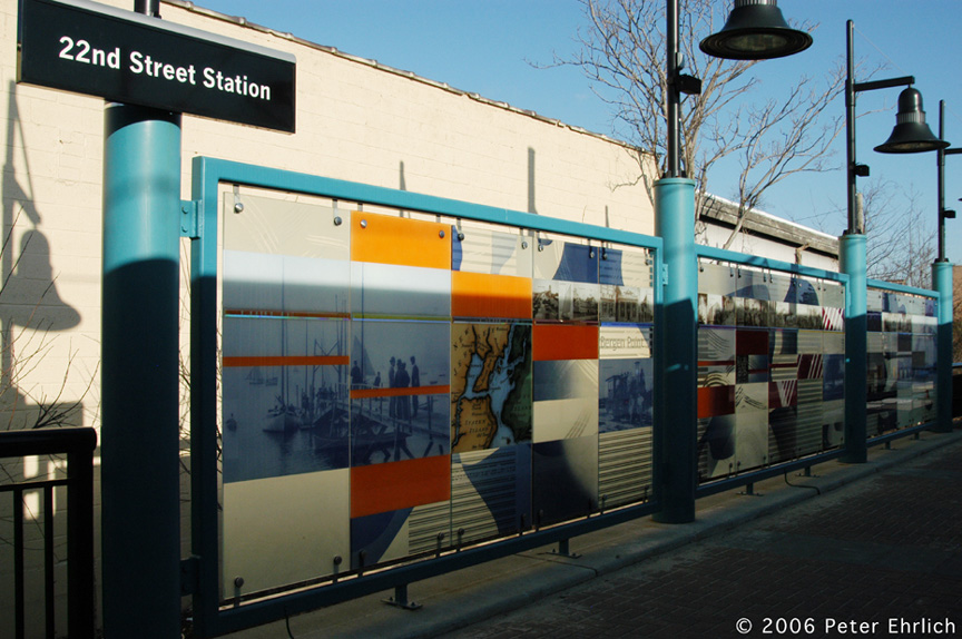 (203k, 864x574)<br><b>Country:</b> United States<br><b>City:</b> Bayonne, NJ<br><b>System:</b> Hudson Bergen Light Rail<br><b>Location:</b> East 22nd Street <br><b>Photo by:</b> Peter Ehrlich<br><b>Date:</b> 1/25/2006<br><b>Notes:</b> Artwork.<br><b>Viewed (this week/total):</b> 0 / 1642
