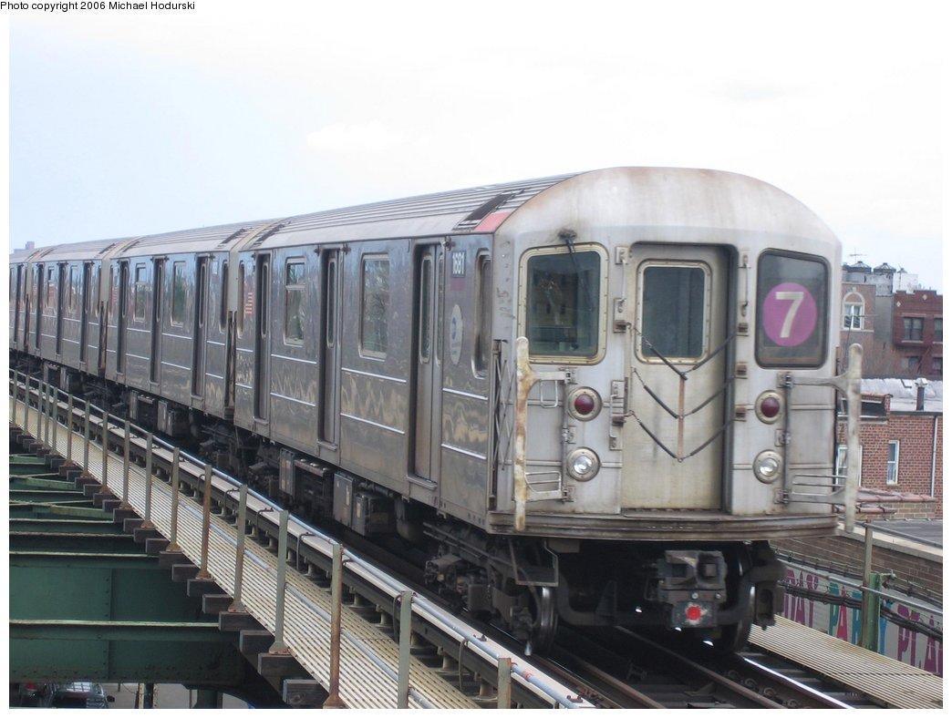 (149k, 1044x788)<br><b>Country:</b> United States<br><b>City:</b> New York<br><b>System:</b> New York City Transit<br><b>Line:</b> IRT Flushing Line<br><b>Location:</b> Junction Boulevard <br><b>Route:</b> 7<br><b>Car:</b> R-62A (Bombardier, 1984-1987)  1681 <br><b>Photo by:</b> Michael Hodurski<br><b>Date:</b> 3/26/2006<br><b>Viewed (this week/total):</b> 0 / 2223
