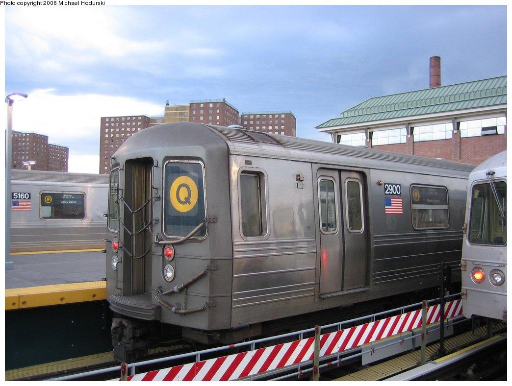 (154k, 1044x788)<br><b>Country:</b> United States<br><b>City:</b> New York<br><b>System:</b> New York City Transit<br><b>Location:</b> Coney Island/Stillwell Avenue<br><b>Route:</b> Q<br><b>Car:</b> R-68 (Westinghouse-Amrail, 1986-1988)  2900 <br><b>Photo by:</b> Michael Hodurski<br><b>Date:</b> 4/13/2006<br><b>Viewed (this week/total):</b> 0 / 2438