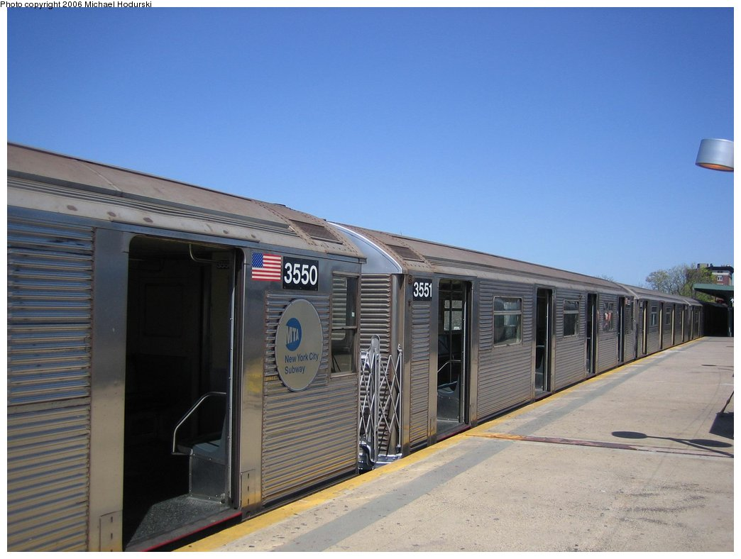 (134k, 1044x788)<br><b>Country:</b> United States<br><b>City:</b> New York<br><b>System:</b> New York City Transit<br><b>Line:</b> IND Rockaway<br><b>Location:</b> Mott Avenue/Far Rockaway <br><b>Route:</b> A<br><b>Car:</b> R-32 (Budd, 1964)  3551 <br><b>Photo by:</b> Michael Hodurski<br><b>Date:</b> 4/20/2006<br><b>Viewed (this week/total):</b> 0 / 2862