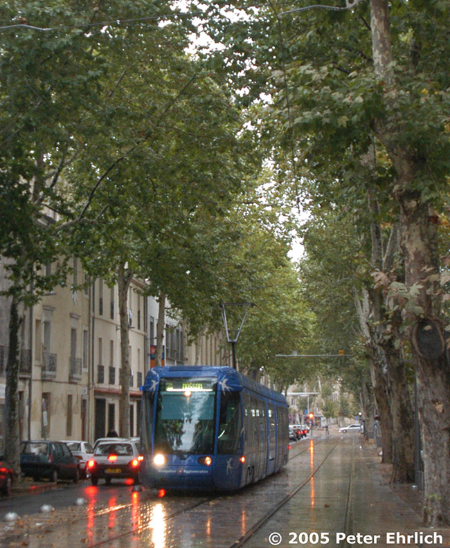 (286k, 650x792)<br><b>Country:</b> France<br><b>City:</b> Montpellier<br><b>System:</b> Transports de l'Agglomération de Montpellier (TAM)<br><b>Location:</b> Blvd. Pasteur (1) <br><b>Car:</b> Citadis Type 301 (Alstom, 2000)  2024 <br><b>Photo by:</b> Peter Ehrlich<br><b>Date:</b> 10/21/2002<br><b>Notes:</b> Blvd. Pasteur outbound.<br><b>Viewed (this week/total):</b> 1 / 1008