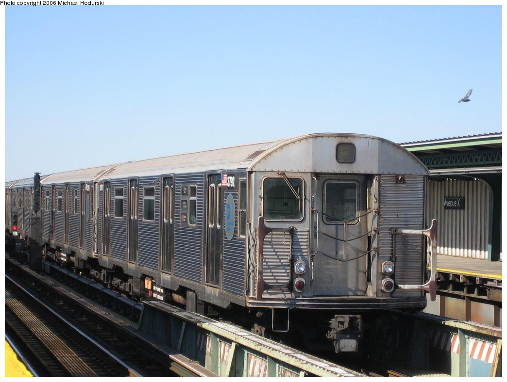 (150k, 1044x788)<br><b>Country:</b> United States<br><b>City:</b> New York<br><b>System:</b> New York City Transit<br><b>Line:</b> BMT Culver Line<br><b>Location:</b> Avenue X <br><b>Route:</b> F<br><b>Car:</b> R-32 (Budd, 1964)  3792 <br><b>Photo by:</b> Michael Hodurski<br><b>Date:</b> 4/28/2006<br><b>Viewed (this week/total):</b> 2 / 2238