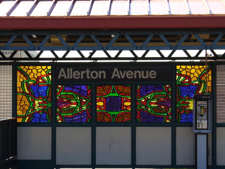 (120k, 896x672)<br><b>Country:</b> United States<br><b>City:</b> New York<br><b>System:</b> New York City Transit<br><b>Line:</b> IRT White Plains Road Line<br><b>Location:</b> Allerton Avenue <br><b>Photo by:</b> Robbie Rosenfeld<br><b>Date:</b> 4/28/2006<br><b>Artwork:</b> <i>Allerton Mandalas</i>, Michele Brody (2006).<br><b>Viewed (this week/total):</b> 2 / 2806