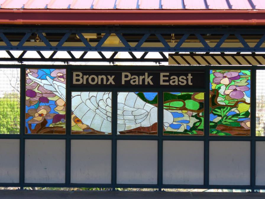 (119k, 896x672)<br><b>Country:</b> United States<br><b>City:</b> New York<br><b>System:</b> New York City Transit<br><b>Line:</b> IRT White Plains Road Line<br><b>Location:</b> Bronx Park East <br><b>Photo by:</b> Robbie Rosenfeld<br><b>Date:</b> 4/28/2006<br><b>Artwork:</b> <i>B is for Birds in the Bronx</i>, Candida Alvarez (2006).<br><b>Viewed (this week/total):</b> 6 / 2652