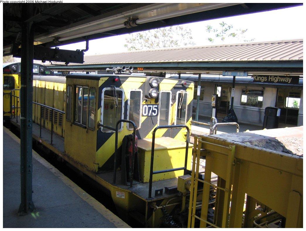 (173k, 1044x788)<br><b>Country:</b> United States<br><b>City:</b> New York<br><b>System:</b> New York City Transit<br><b>Line:</b> BMT Brighton Line<br><b>Location:</b> Kings Highway <br><b>Route:</b> Work Service<br><b>Car:</b> R-52 Locomotive  75 <br><b>Photo by:</b> Michael Hodurski<br><b>Date:</b> 5/6/2006<br><b>Viewed (this week/total):</b> 0 / 1852