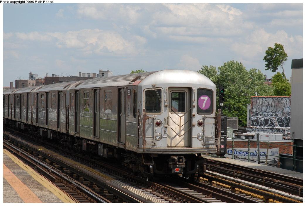 (196k, 1044x705)<br><b>Country:</b> United States<br><b>City:</b> New York<br><b>System:</b> New York City Transit<br><b>Line:</b> IRT Flushing Line<br><b>Location:</b> 82nd Street/Jackson Heights <br><b>Route:</b> 7<br><b>Car:</b> R-62A (Bombardier, 1984-1987)  1821 <br><b>Photo by:</b> Richard Panse<br><b>Date:</b> 5/20/2006<br><b>Viewed (this week/total):</b> 3 / 2300