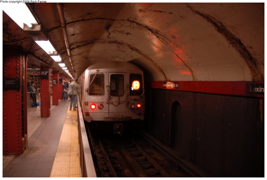 (142k, 1044x705)<br><b>Country:</b> United States<br><b>City:</b> New York<br><b>System:</b> New York City Transit<br><b>Line:</b> IND Queens Boulevard Line<br><b>Location:</b> Lexington Avenue-53rd Street <br><b>Route:</b> F<br><b>Car:</b> R-46 (Pullman-Standard, 1974-75)  <br><b>Photo by:</b> Richard Panse<br><b>Date:</b> 5/20/2006<br><b>Viewed (this week/total):</b> 0 / 4147