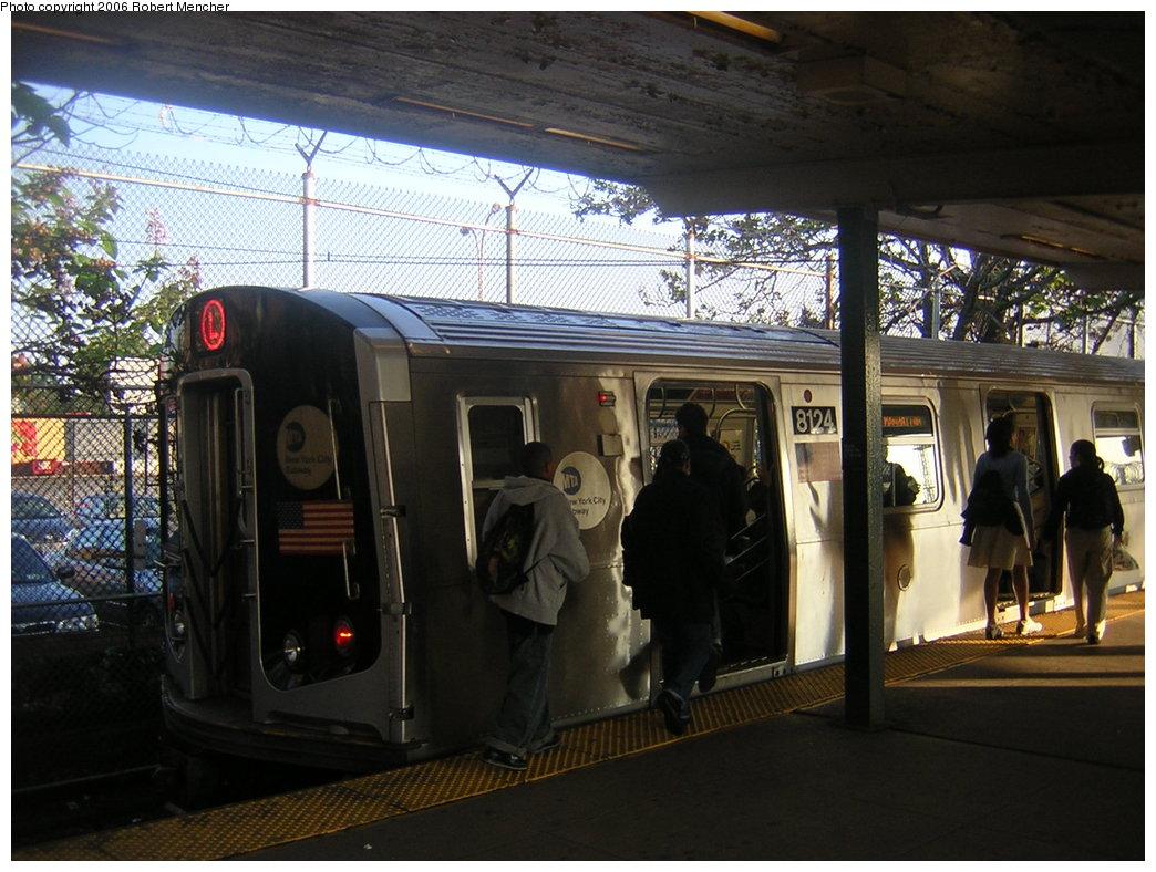 (216k, 1044x788)<br><b>Country:</b> United States<br><b>City:</b> New York<br><b>System:</b> New York City Transit<br><b>Line:</b> BMT Canarsie Line<br><b>Location:</b> Rockaway Parkway <br><b>Route:</b> L<br><b>Car:</b> R-143 (Kawasaki, 2001-2002) 8124 <br><b>Photo by:</b> Robert Mencher<br><b>Date:</b> 5/17/2006<br><b>Viewed (this week/total):</b> 6 / 2990