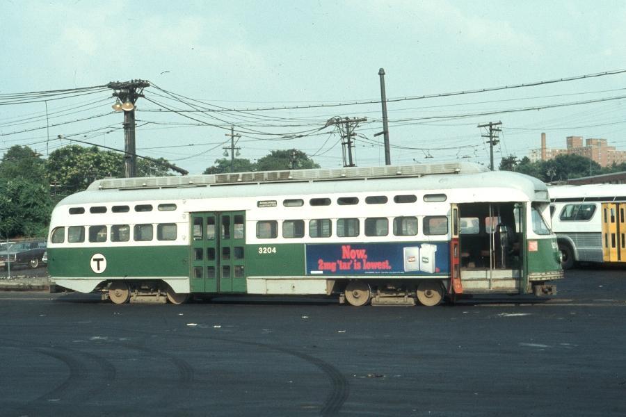 (71k, 900x600)<br><b>Country:</b> United States<br><b>City:</b> Boston, MA<br><b>System:</b> MBTA<br><b>Line:</b> MBTA Green (E)<br><b>Location:</b> Arborway/Arborway Yard<br><b>Car:</b> MBTA/BSRy PCC Post-War All Electric (Pullman-Standard, 1946)  3204 <br><b>Photo by:</b> Harv Kahn<br><b>Date:</b> 7/9/1976<br><b>Viewed (this week/total):</b> 2 / 1492