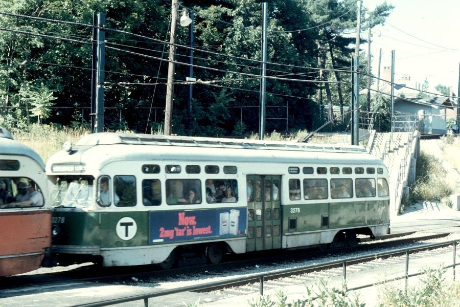 (127k, 900x600)<br><b>Country:</b> United States<br><b>City:</b> Boston, MA<br><b>System:</b> MBTA<br><b>Line:</b> MBTA Green (D)<br><b>Location:</b> Reservoir <br><b>Car:</b> MBTA/BSRy PCC Post-War Picture Window (Pullman-Standard, 1951)  3278 <br><b>Photo by:</b> Harv Kahn<br><b>Date:</b> 7/10/1976<br><b>Viewed (this week/total):</b> 1 / 1168