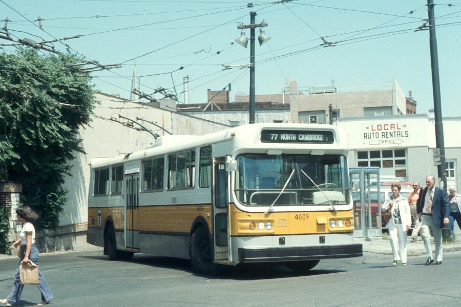 (88k, 900x600)<br><b>Country:</b> United States<br><b>City:</b> Boston, MA<br><b>System:</b> MBTA Boston<br><b>Line:</b> MBTA Trolleybus (71,72,73)<br><b>Location:</b> Harvard Square<br><b>Car:</b> MBTA Trolleybus 4009 <br><b>Photo by:</b> Harv Kahn<br><b>Date:</b> 7/10/1976<br><b>Viewed (this week/total):</b> 0 / 1260