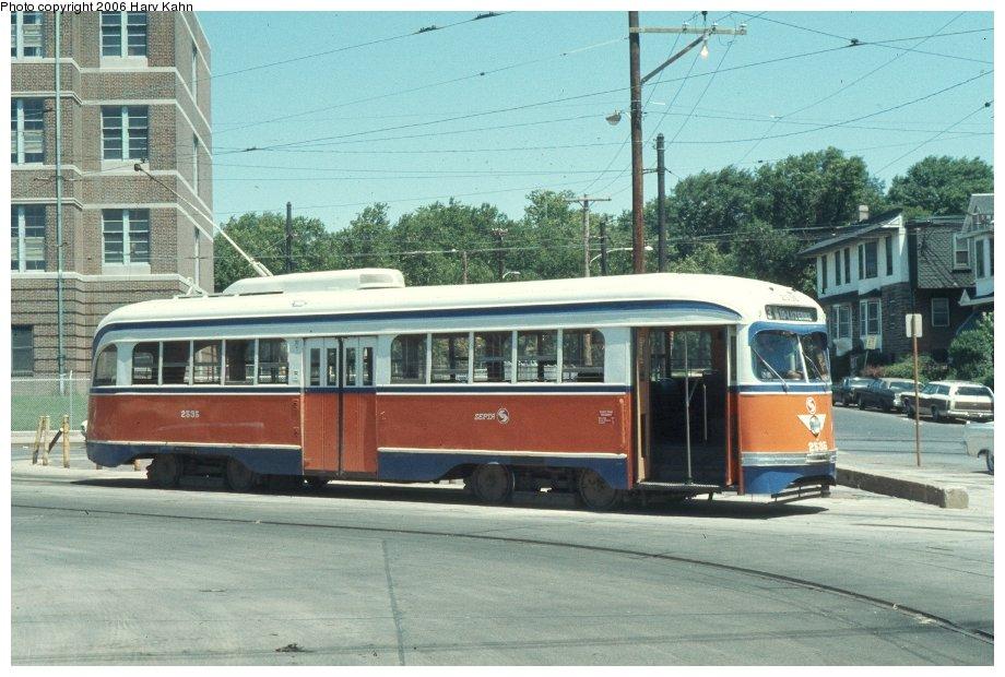 (127k, 920x620)<br><b>Country:</b> United States<br><b>City:</b> Philadelphia, PA<br><b>System:</b> SEPTA (or Predecessor)<br><b>Location:</b> Luzerne Depot <br><b>Car:</b> PTC/SEPTA Pre-war Air-car PCC (St.Louis, 1940)  2535 <br><b>Photo by:</b> Harv Kahn<br><b>Date:</b> 7/17/1976<br><b>Viewed (this week/total):</b> 1 / 1429